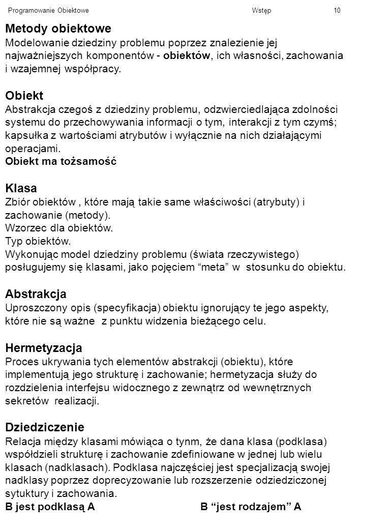 Metody obiektowe Obiekt Klasa Abstrakcja Hermetyzacja Dziedziczenie