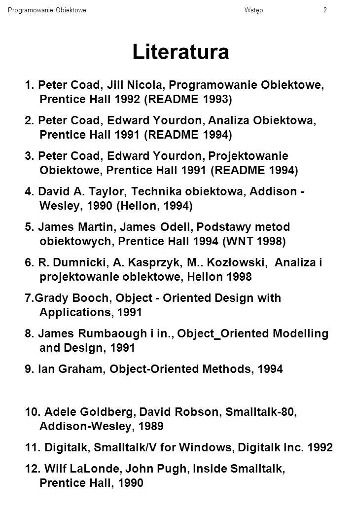 Literatura 1. Peter Coad, Jill Nicola, Programowanie Obiektowe, Prentice Hall 1992 (README 1993)
