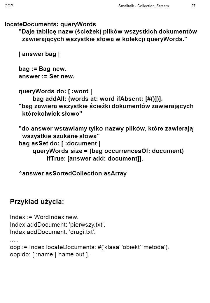 Przykład użycia: locateDocuments: queryWords
