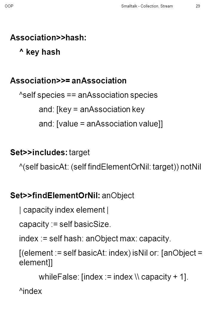 Association>>hash: