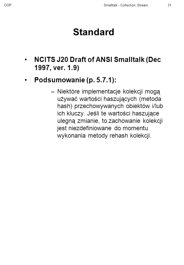 Standard NCITS J20 Draft of ANSI Smalltalk (Dec 1997, ver. 1.9)