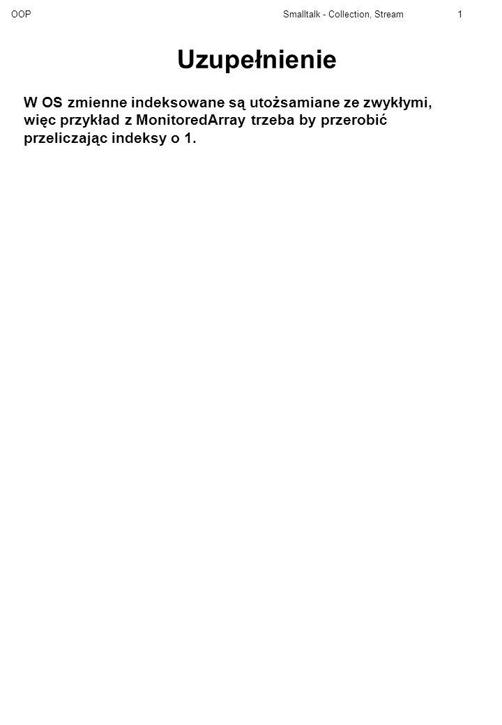 Uzupełnienie W OS zmienne indeksowane są utożsamiane ze zwykłymi, więc przykład z MonitoredArray trzeba by przerobić przeliczając indeksy o 1.