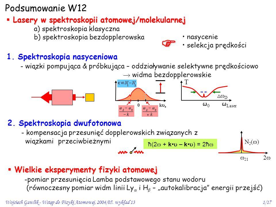  Podsumowanie W12 Lasery w spektroskopii atomowej/molekularnej