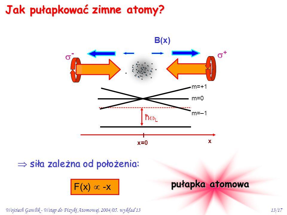 B(x) zimne atomy Jak pułapkować + -  siła zależna od położenia: