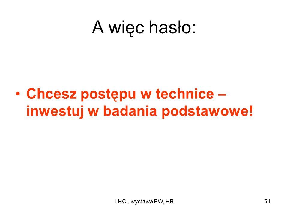 A więc hasło: Chcesz postępu w technice – inwestuj w badania podstawowe! LHC - wystawa PW, HB