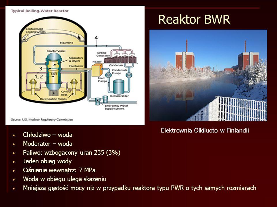 Reaktor BWR Elektrownia Olkiluoto w Finlandii Chłodziwo – woda