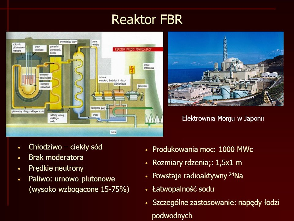 Reaktor FBR Chłodziwo – ciekły sód Produkowania moc: 1000 MWc