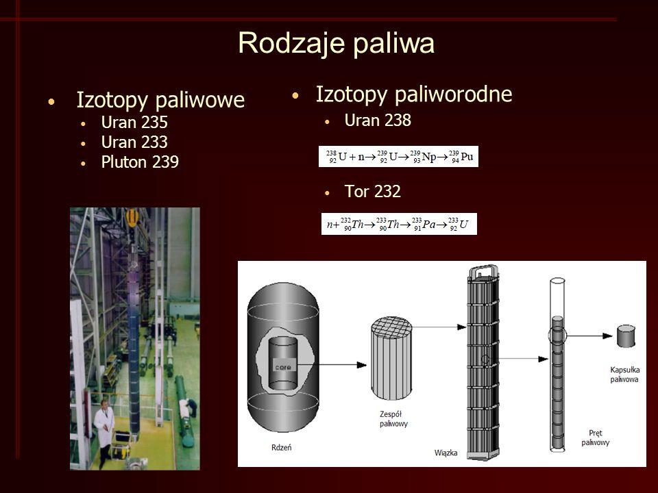 Rodzaje paliwa Izotopy paliworodne Izotopy paliwowe Uran 238 Uran 235