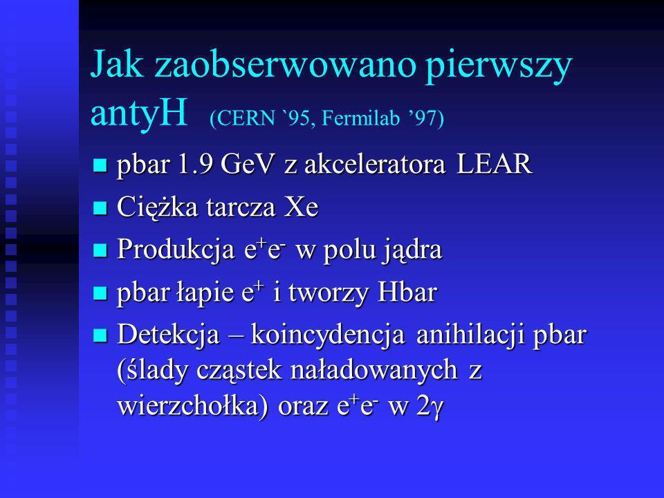 Jak zaobserwowano pierwszy antyH (CERN `95, Fermilab '97)