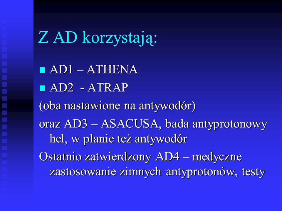 Z AD korzystają: AD1 – ATHENA AD2 - ATRAP