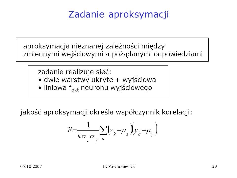 Zadanie aproksymacji aproksymacja nieznanej zależności między zmiennymi wejściowymi a pożądanymi odpowiedziami.