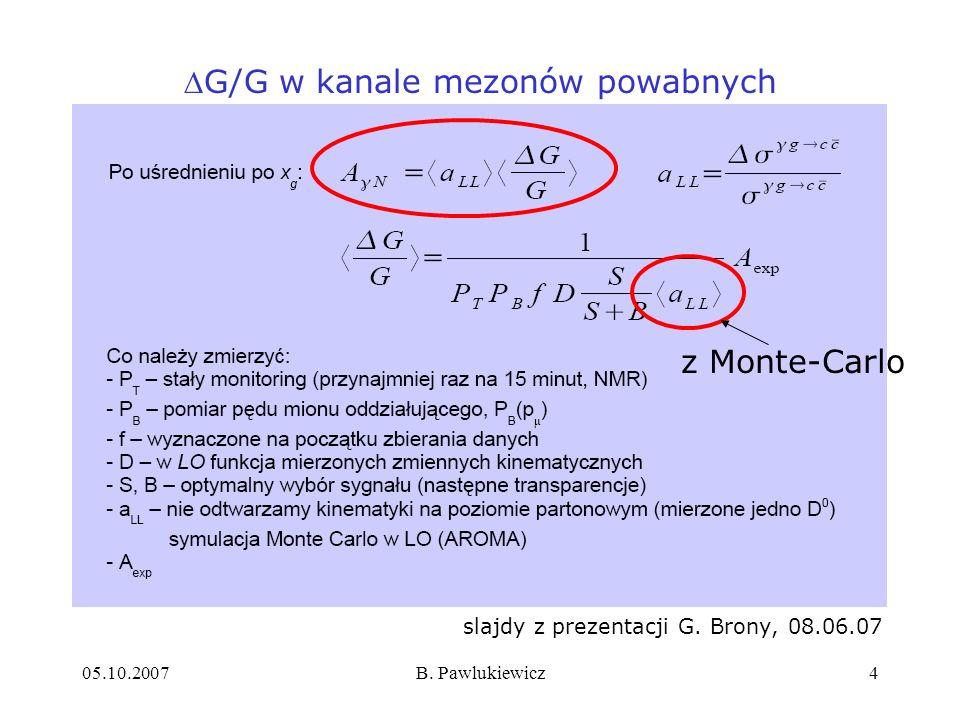 G/G w kanale mezonów powabnych