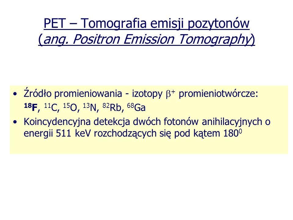 PET – Tomografia emisji pozytonów (ang. Positron Emission Tomography)