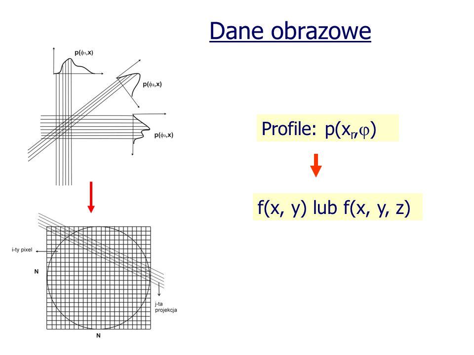 Dane obrazowe Profile: p(xr,) f(x, y) lub f(x, y, z)