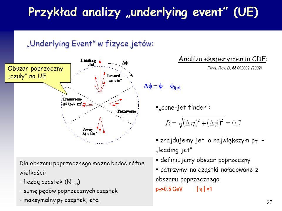 """Przykład analizy """"underlying event (UE)"""