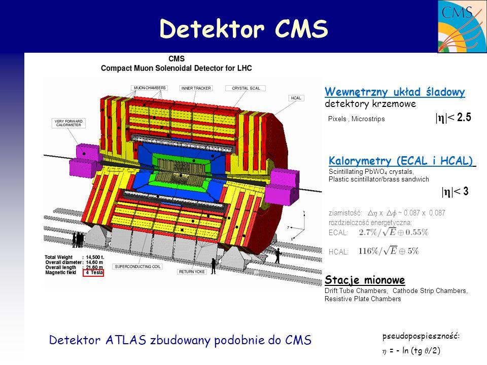 Detektor CMS Pixels , Microstrips |η|< 2.5 |η|< 3