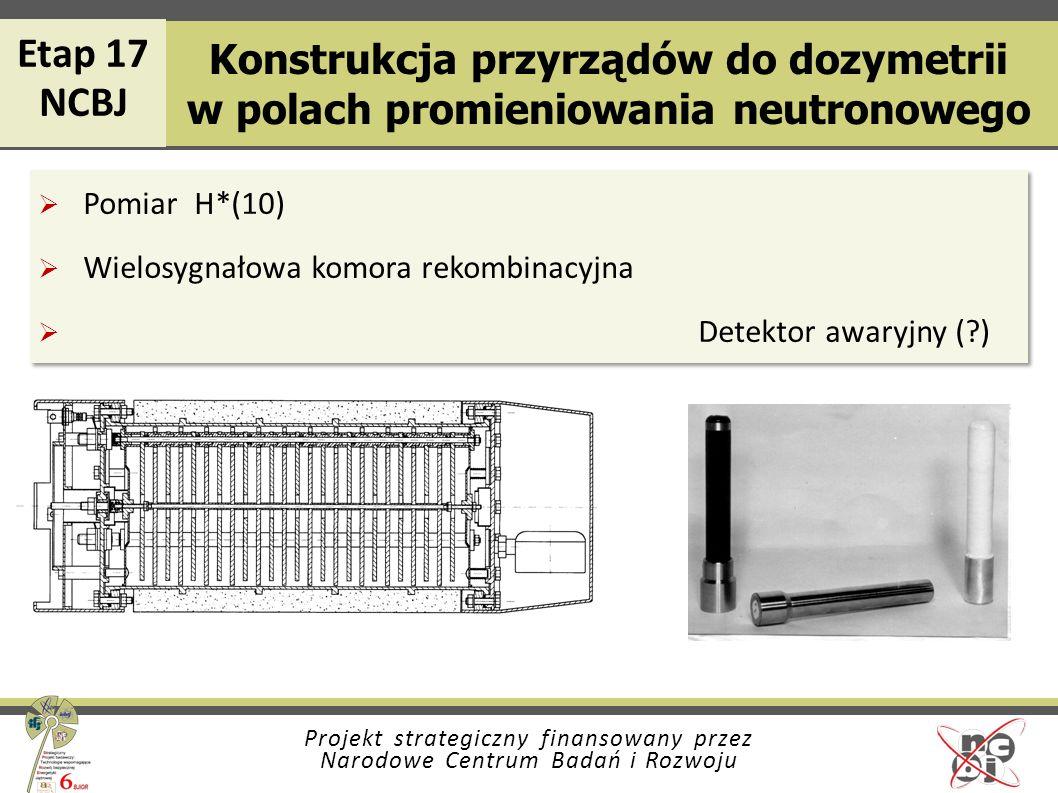 Etap 17 NCBJ. Konstrukcja przyrządów do dozymetrii w polach promieniowania neutronowego. Pomiar H*(10)