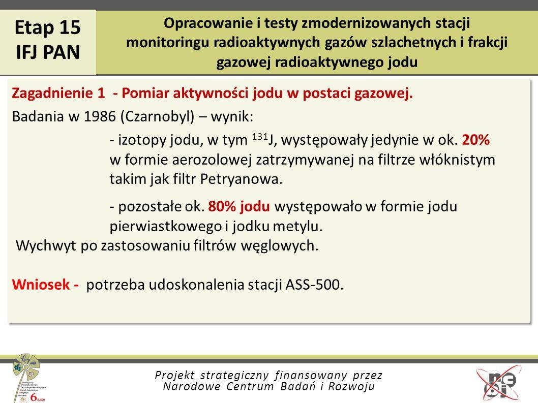 Etap 15 IFJ PAN. Opracowanie i testy zmodernizowanych stacji monitoringu radioaktywnych gazów szlachetnych i frakcji gazowej radioaktywnego jodu.