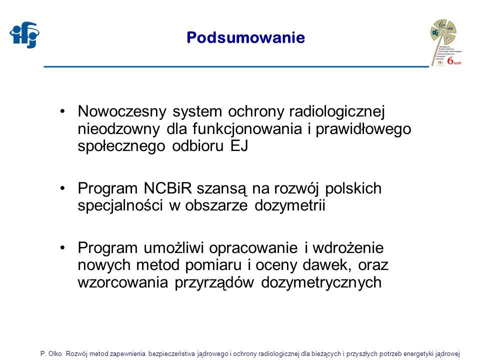 Podsumowanie Nowoczesny system ochrony radiologicznej nieodzowny dla funkcjonowania i prawidłowego społecznego odbioru EJ.