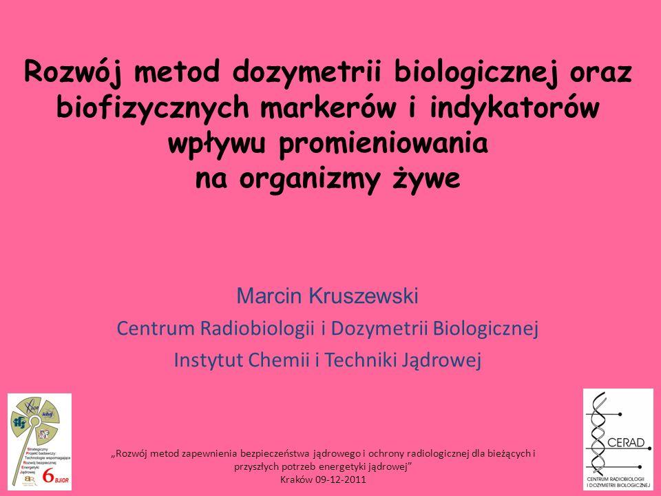 Rozwój metod dozymetrii biologicznej oraz biofizycznych markerów i indykatorów wpływu promieniowania na organizmy żywe