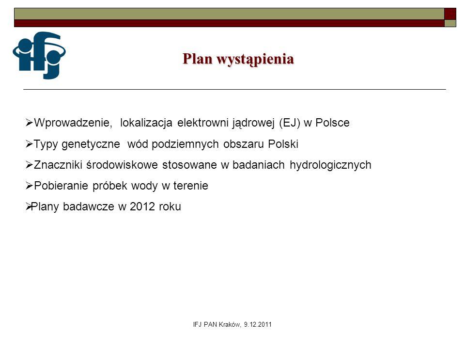 Plan wystąpienia Wprowadzenie, lokalizacja elektrowni jądrowej (EJ) w Polsce. Typy genetyczne wód podziemnych obszaru Polski.