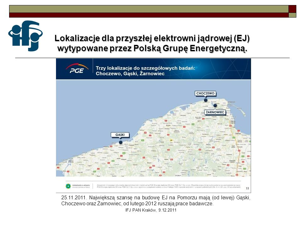 Lokalizacje dla przyszłej elektrowni jądrowej (EJ)