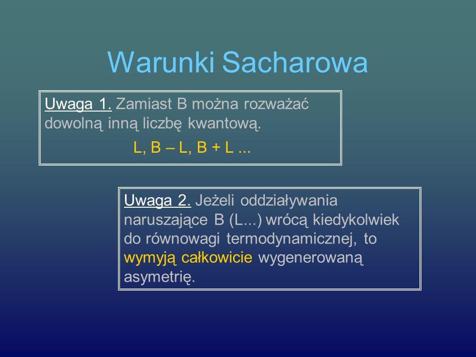 Warunki Sacharowa Uwaga 1. Zamiast B można rozważać dowolną inną liczbę kwantową. L, B – L, B + L ...