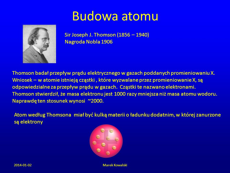 Budowa atomu Sir Joseph J. Thomson (1856 – 1940) Nagroda Nobla 1906