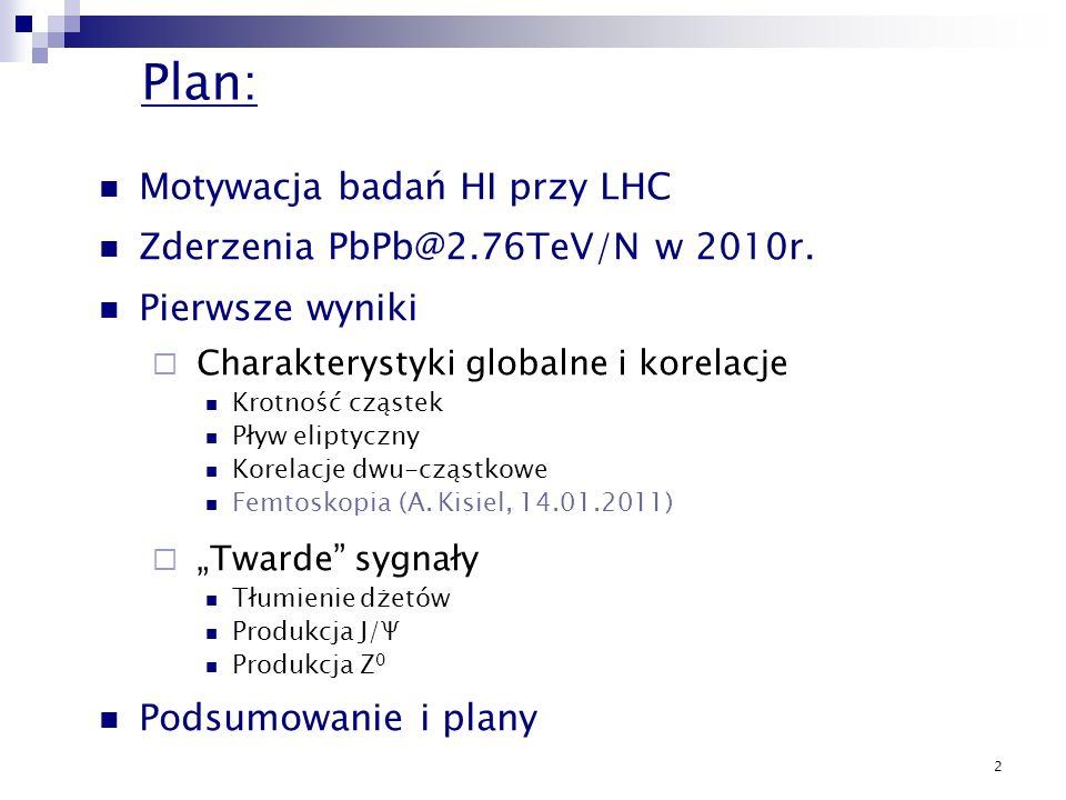 Plan: Motywacja badań HI przy LHC Zderzenia PbPb@2.76TeV/N w 2010r.