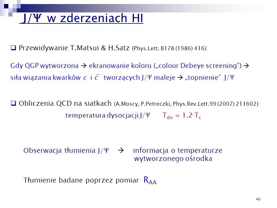 J/Ψ w zderzeniach HI Przewidywanie T.Matsui & H.Satz (Phys.Lett. B178 (1986) 416):