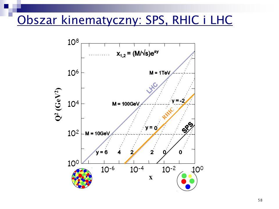 Obszar kinematyczny: SPS, RHIC i LHC