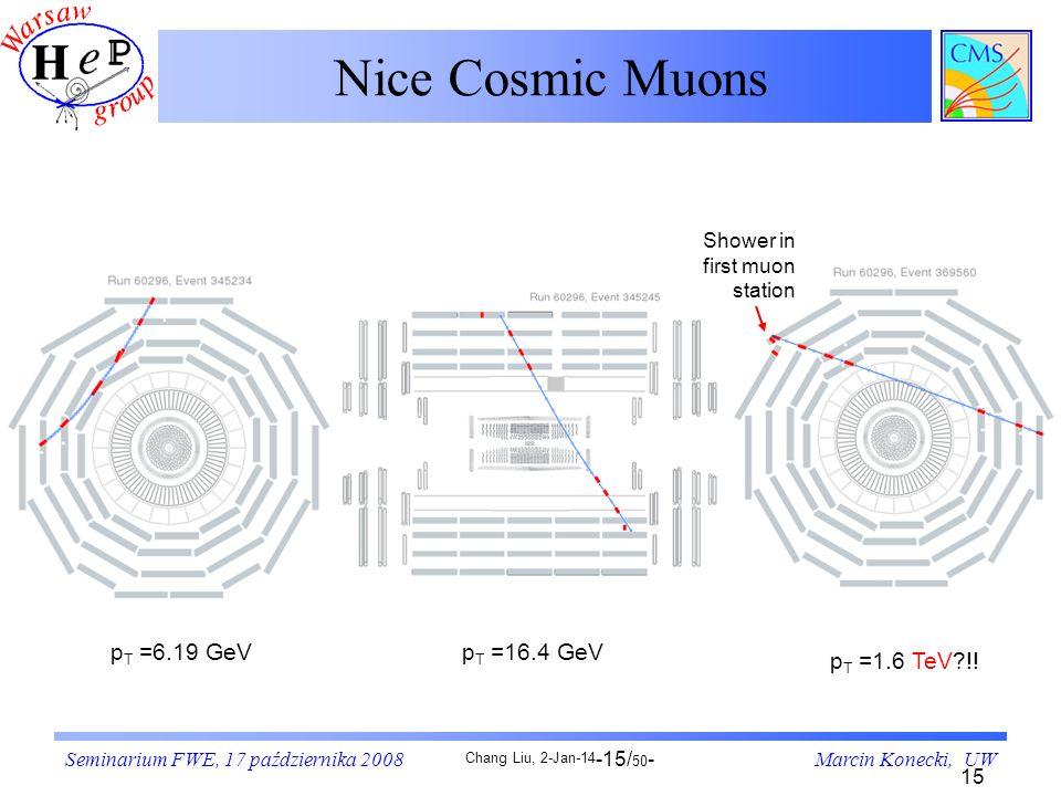 Nice Cosmic Muons pT =6.19 GeV pT =16.4 GeV pT =1.6 TeV !!