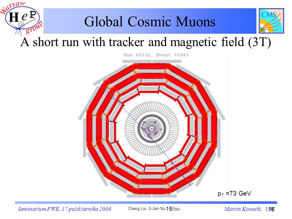 Global Cosmic Muons A short run with tracker and magnetic field (3T)