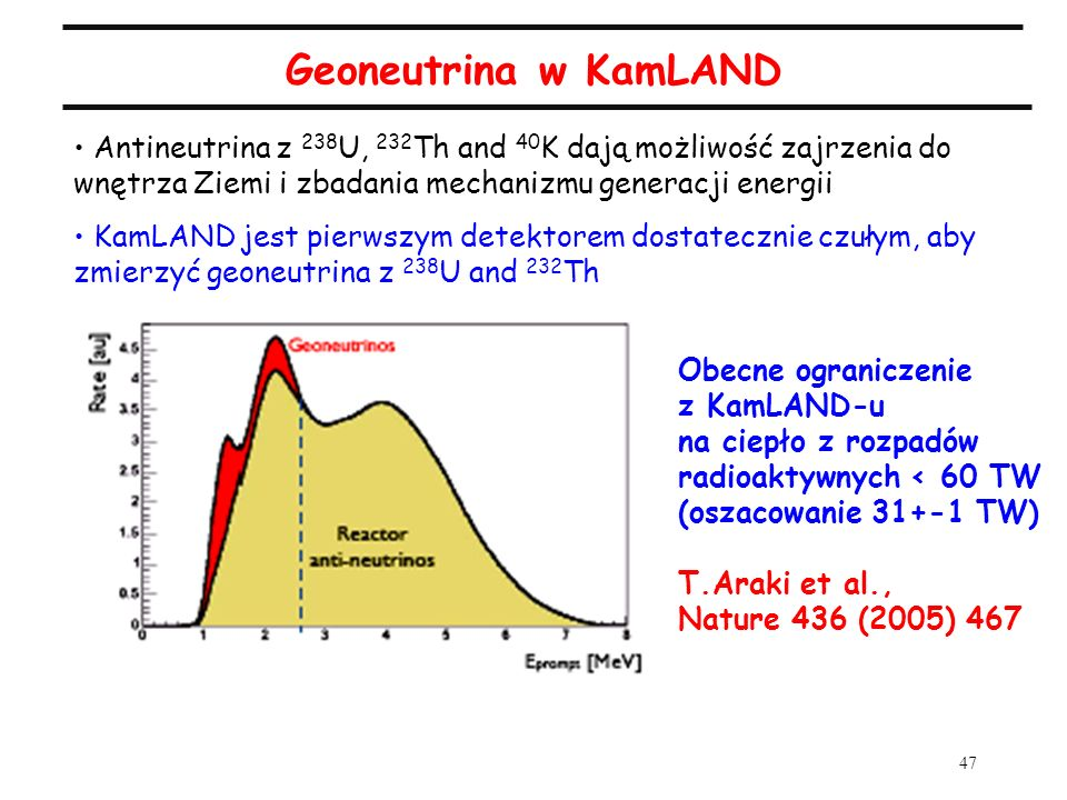 Geoneutrina w KamLANDAntineutrina z 238U, 232Th and 40K dają możliwość zajrzenia do wnętrza Ziemi i zbadania mechanizmu generacji energii.