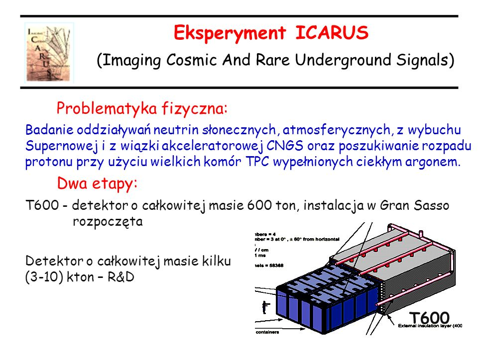 Eksperyment ICARUS (Imaging Cosmic And Rare Underground Signals)