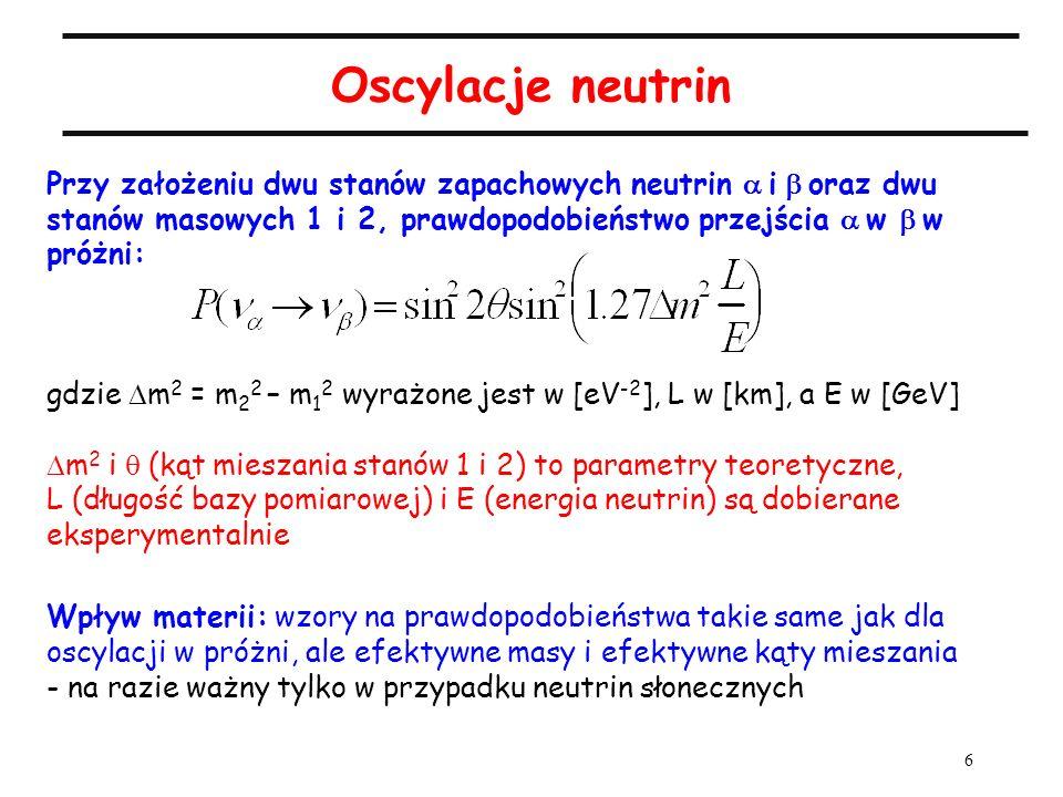 Oscylacje neutrinPrzy założeniu dwu stanów zapachowych neutrin a i b oraz dwu stanów masowych 1 i 2, prawdopodobieństwo przejścia a w b w próżni: