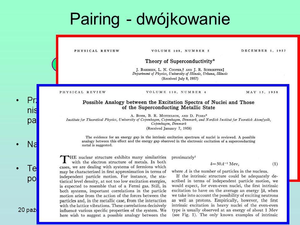 Pairing - dwójkowanie Przyciągające się Fermiony w niskich temperaturach tworzą pary Coopera. Nadprzewodnictwo.