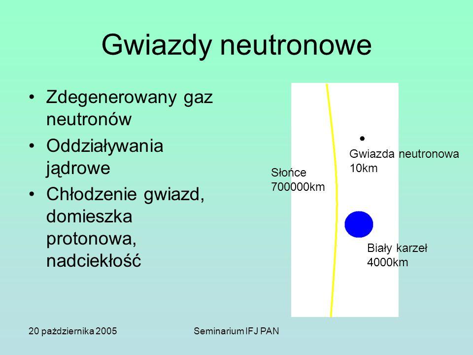 Gwiazdy neutronowe Zdegenerowany gaz neutronów Oddziaływania jądrowe