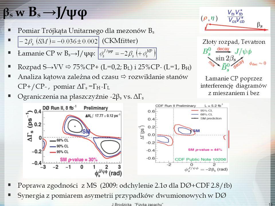 βs w Bs →J/ψφ Pomiar Trójkąta Unitarnego dla mezonów Bs (CKMfitter)