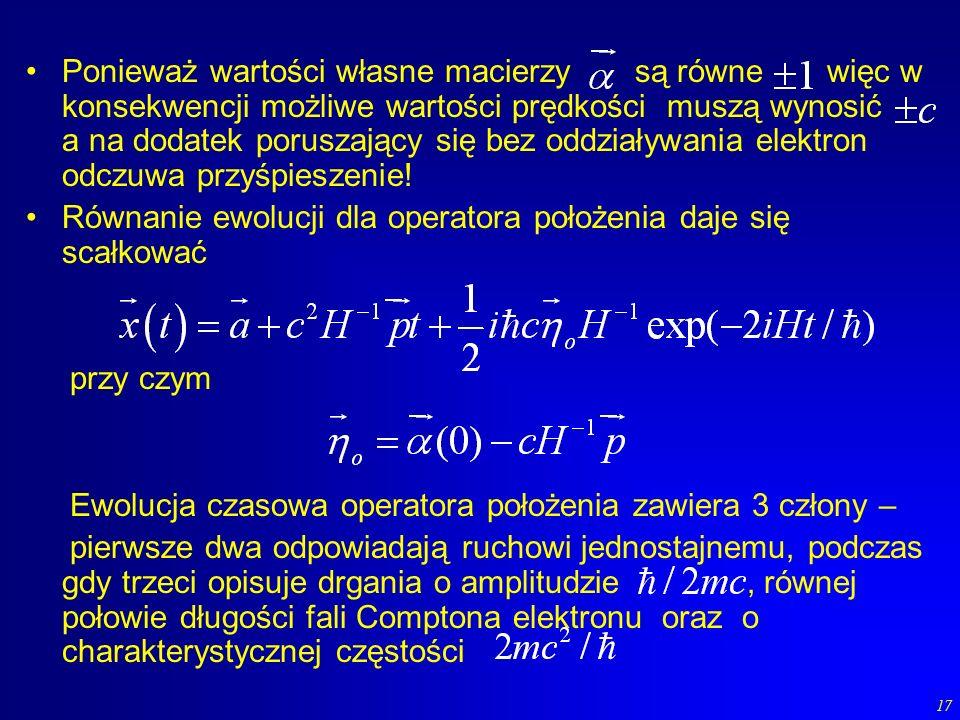 Ponieważ wartości własne macierzy są równe więc w konsekwencji możliwe wartości prędkości muszą wynosić a na dodatek poruszający się bez oddziaływania elektron odczuwa przyśpieszenie!