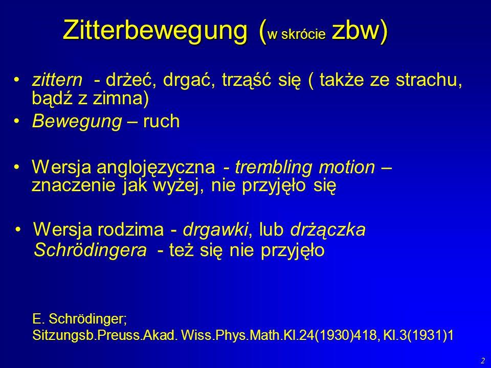 Zitterbewegung (w skrócie zbw)
