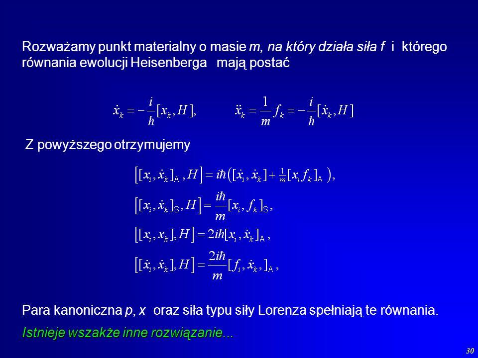 Rozważamy punkt materialny o masie m, na który działa siła f i którego