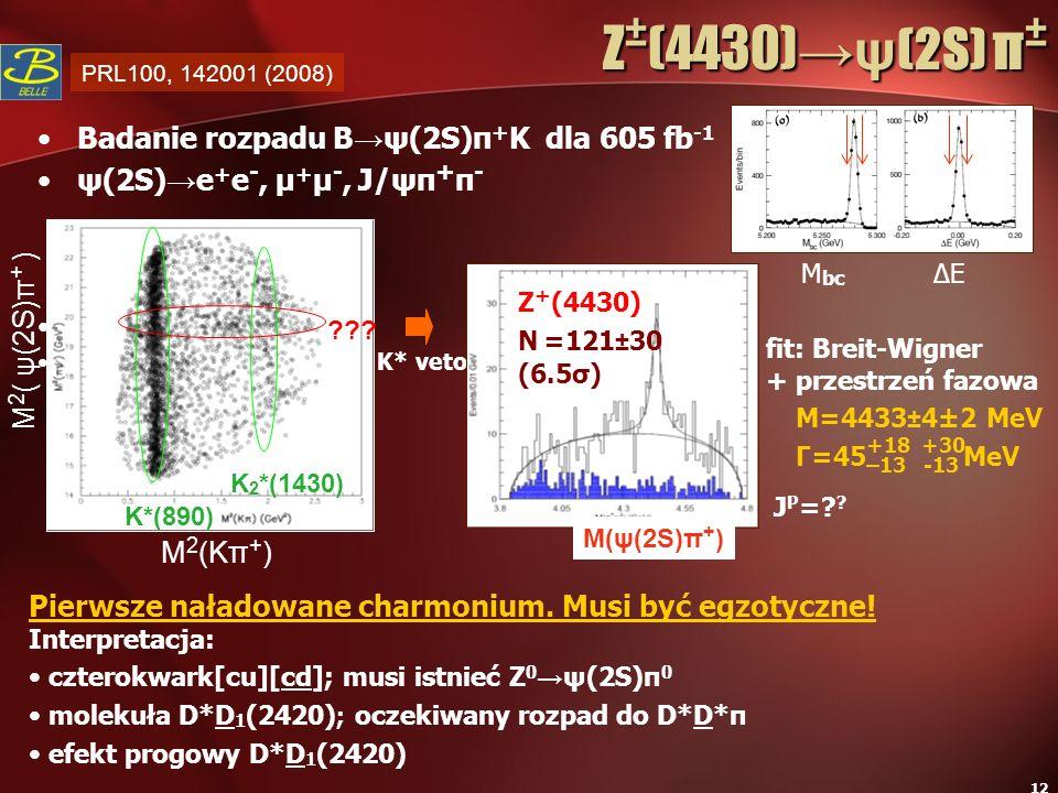 Z±(4430)→ψ(2S) π± Badanie rozpadu B→ψ(2S)π+K dla 605 fb-1