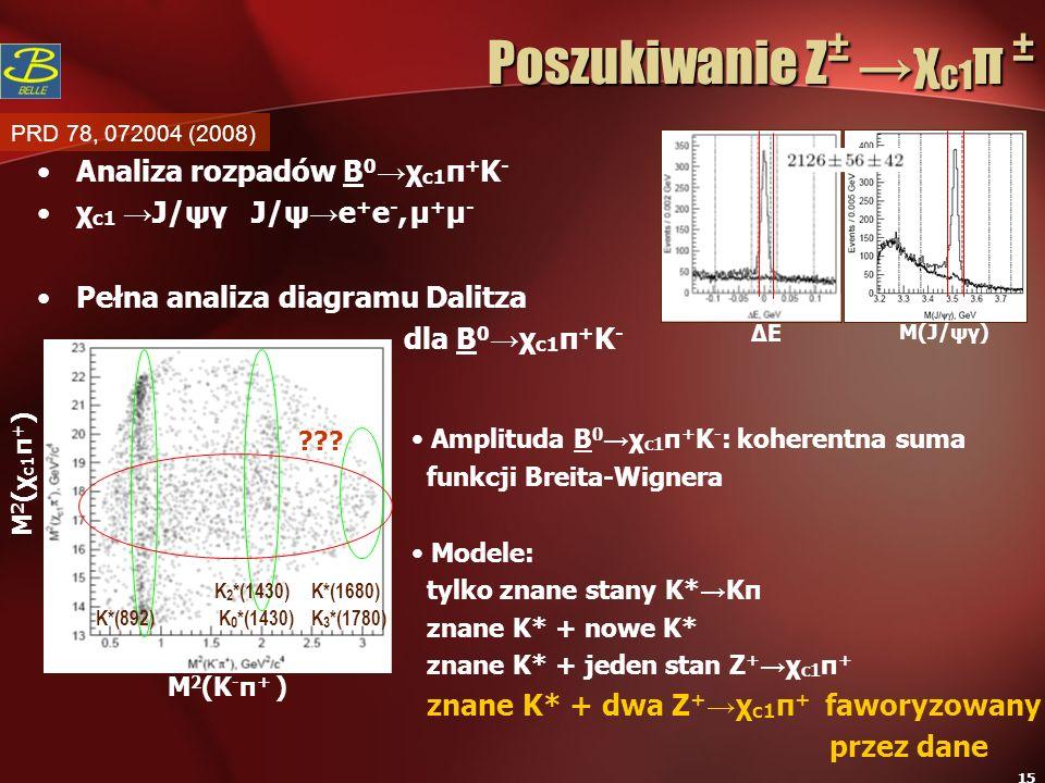 Poszukiwanie Z± →χc1π ± Analiza rozpadów B0→χc1π+K-