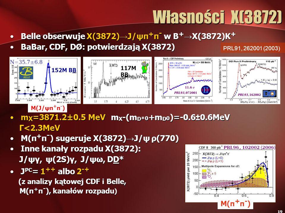 Własności X(3872) Belle obserwuje X(3872)→J/ψπ+π- w B+→X(3872)K+