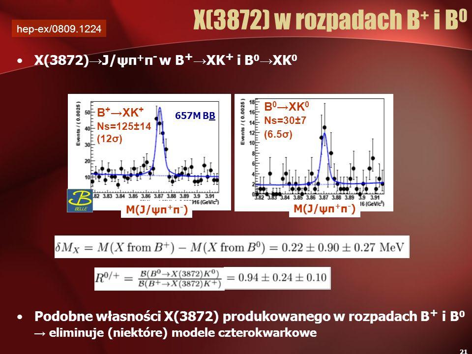 X(3872) w rozpadach B+ i B0 X(3872)→J/ψπ+π- w B+→XK+ i B0→XK0