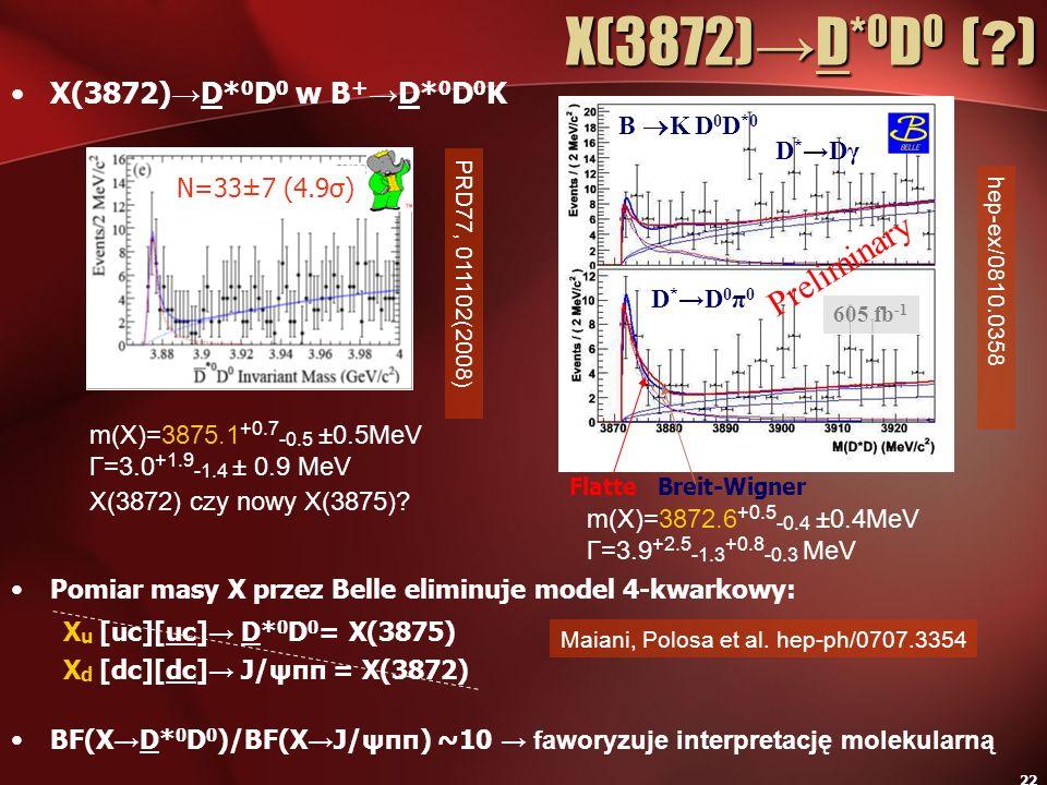 X(3872)→D*0D0 ( ) Preliminary X(3872)→D*0D0 w B+→D*0D0K B K D0D*0