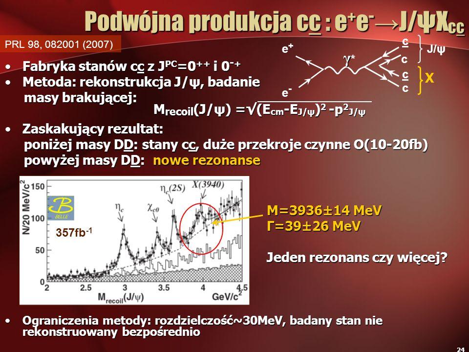 Podwójna produkcja cc : e+e-→J/ψXcc