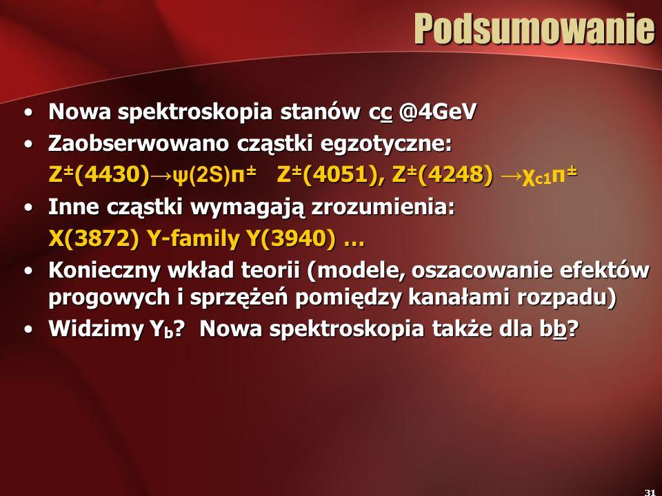 Podsumowanie Nowa spektroskopia stanów cc @4GeV