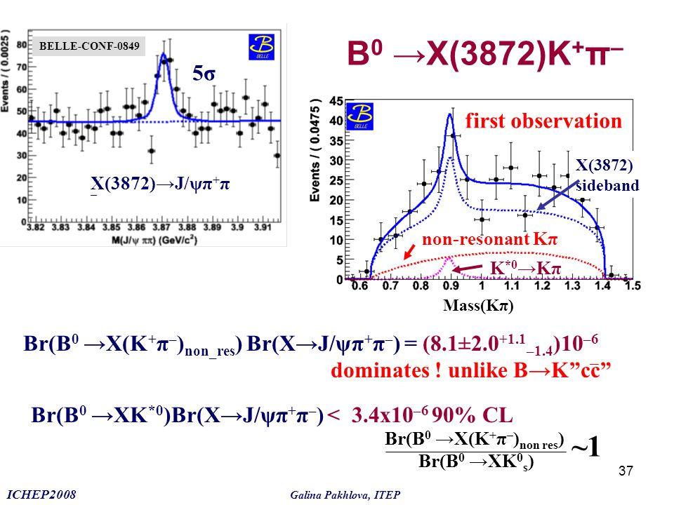 B0 →X(3872)K+π– ~1 5σ first observation
